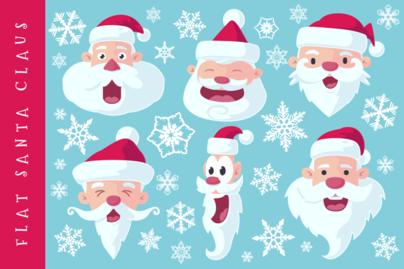 Download Free Flat Santa Claus Heads Vector Graphic By Pixaroma Creative for Cricut Explore, Silhouette and other cutting machines.