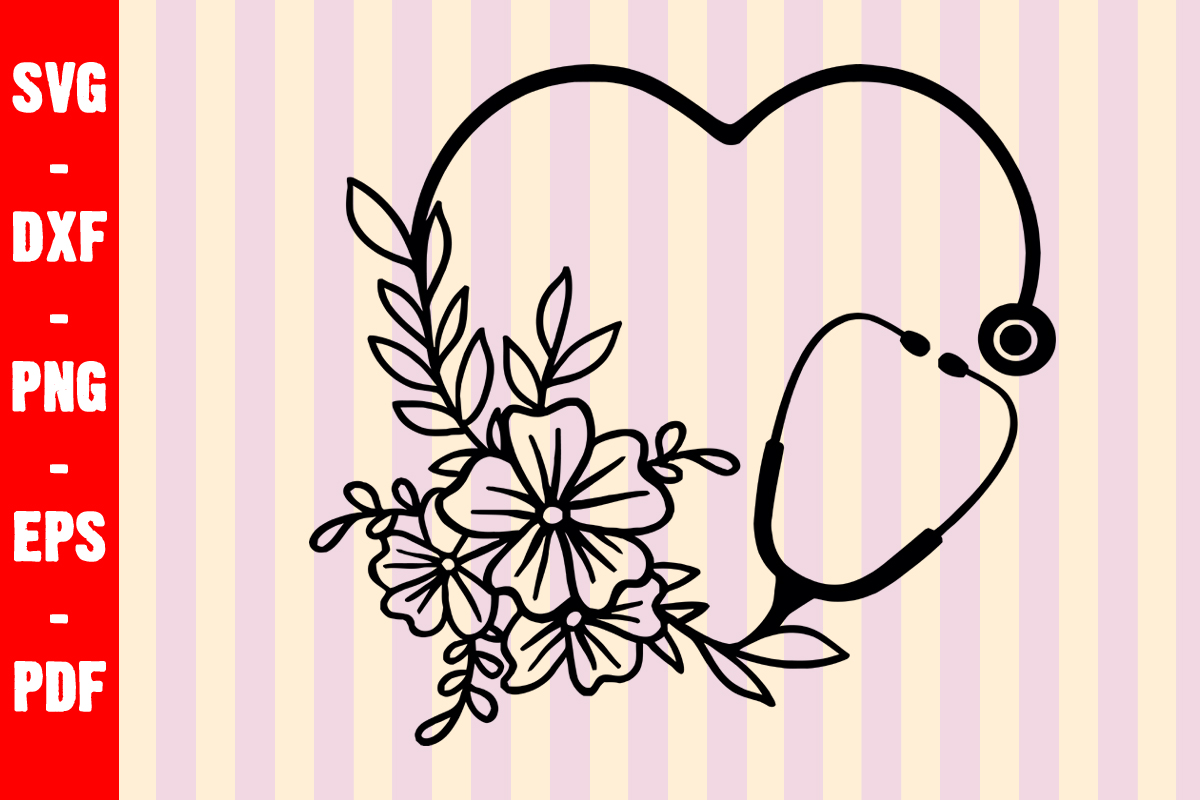 Download Free Floral Stethoscope Nurse Graphic By Creativeshohor Creative for Cricut Explore, Silhouette and other cutting machines.