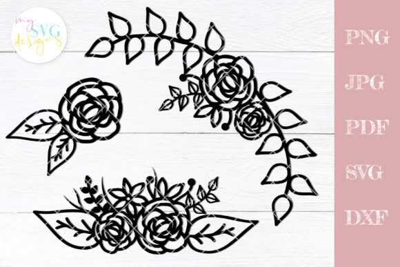 Download Free Flower Rose Border Graphic By Mysvgdesigns Creative Fabrica for Cricut Explore, Silhouette and other cutting machines.