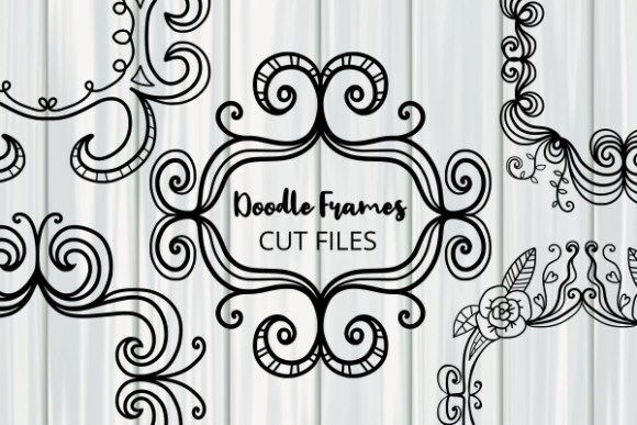 Print on Demand: Folk Art Doodle Frame Borders Cut Files Gráfico Crafts Por Prawny
