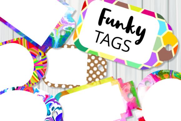 Download Free Funky Tag Template Banner Label Frames Graphic By Prawny for Cricut Explore, Silhouette and other cutting machines.
