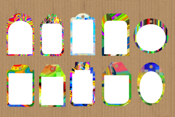 Print on Demand: Funky Tag Template Banner Label Frames Graphic Backgrounds By Prawny - Image 2