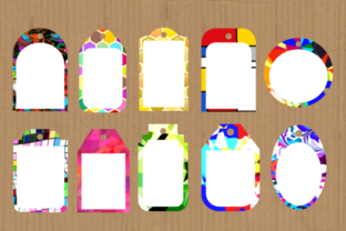 Print on Demand: Funky Tag Template Banner Label Frames Graphic Backgrounds By Prawny 3