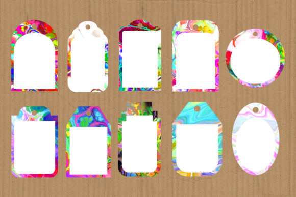 Print on Demand: Funky Tag Template Banner Label Frames Graphic Backgrounds By Prawny - Image 4