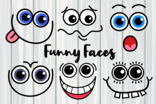 Print on Demand: Funny Faces Cute Cartoon Expressions Gráfico Crafts Por Prawny