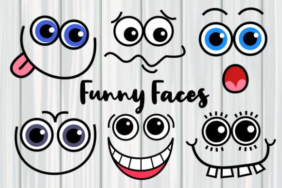 Print on Demand: Funny Faces Cute Cartoon Expressions Graphic Illustrations By Prawny