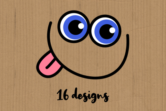 Funny Faces Cute Cartoon Expressions Graphic Item