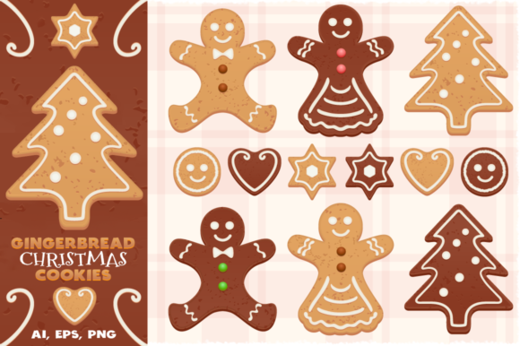 Download Free Gingerbread Vector Christmas Cookies Graphic By Pixaroma Creative Fabrica for Cricut Explore, Silhouette and other cutting machines.