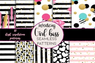 Print on Demand: Girl Boss Seamless Patterns Graphic Patterns By TheGGShop