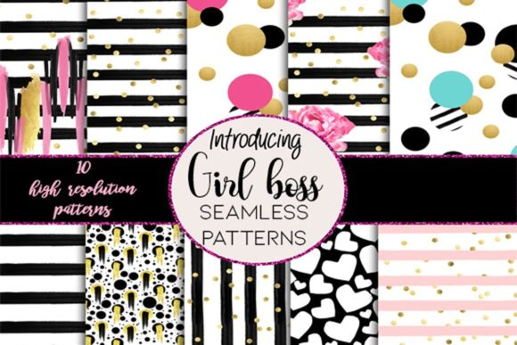 Print on Demand: Girl Boss Seamless Patterns Gráfico Moldes Por TheGGShop