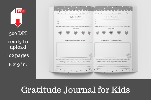 Download Free Gratitude Journal For Kids Graphic By Kdp Template Designs for Cricut Explore, Silhouette and other cutting machines.