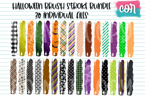 Print on Demand: Halloween Brush Stroke Bundle Graphic Crafts By designscor