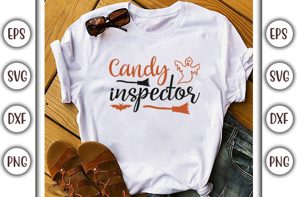 Print on Demand: Halloween Quotes Design, Candy Inspector Graphic Print Templates By GraphicsBooth