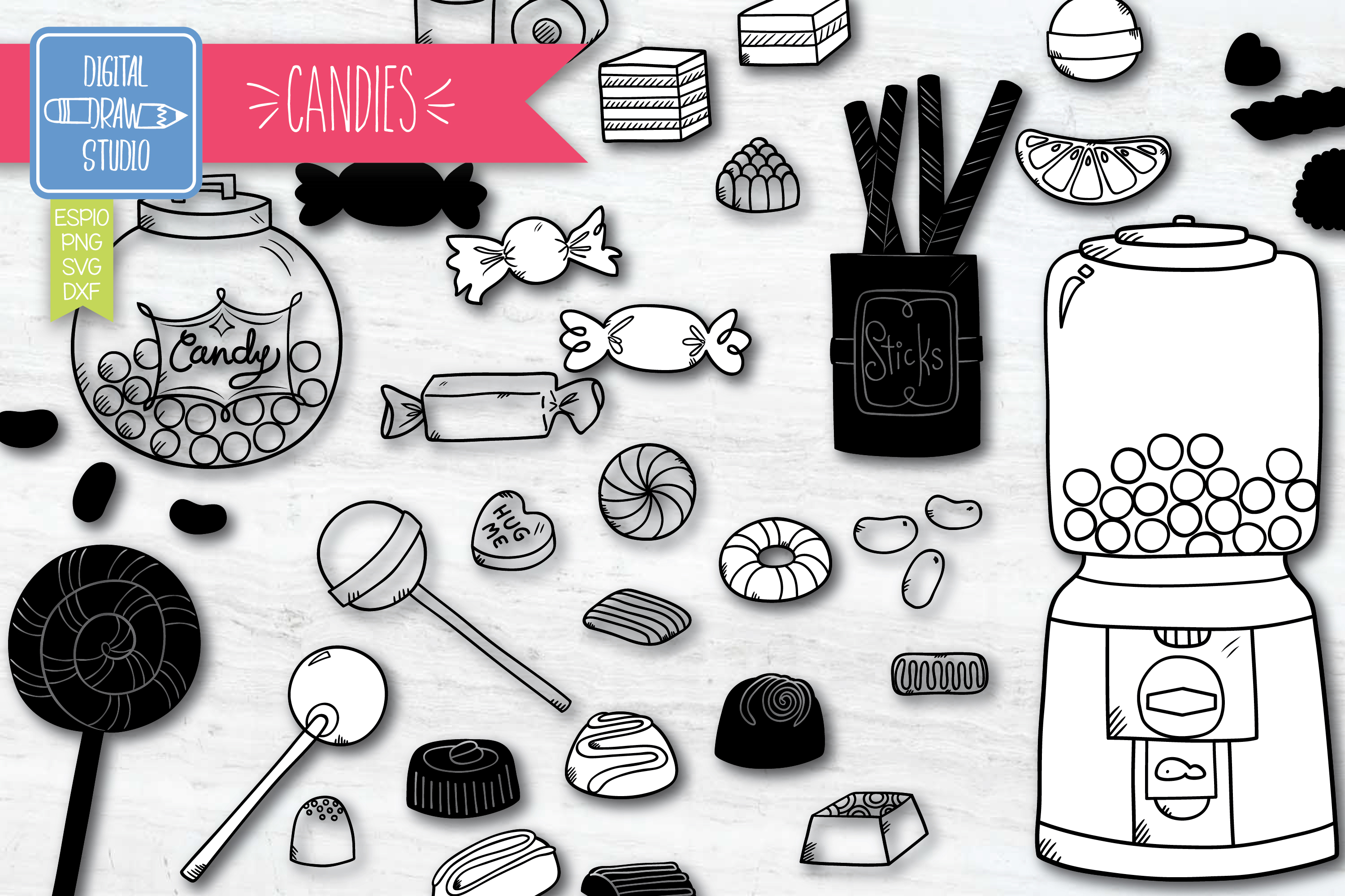 Download Free Hand Drawn Candies Vintage Sweets Graphic By Carmela Giordano for Cricut Explore, Silhouette and other cutting machines.
