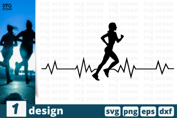 Print on Demand: Heart Beat Runner Girl   Graphic Crafts By SvgOcean