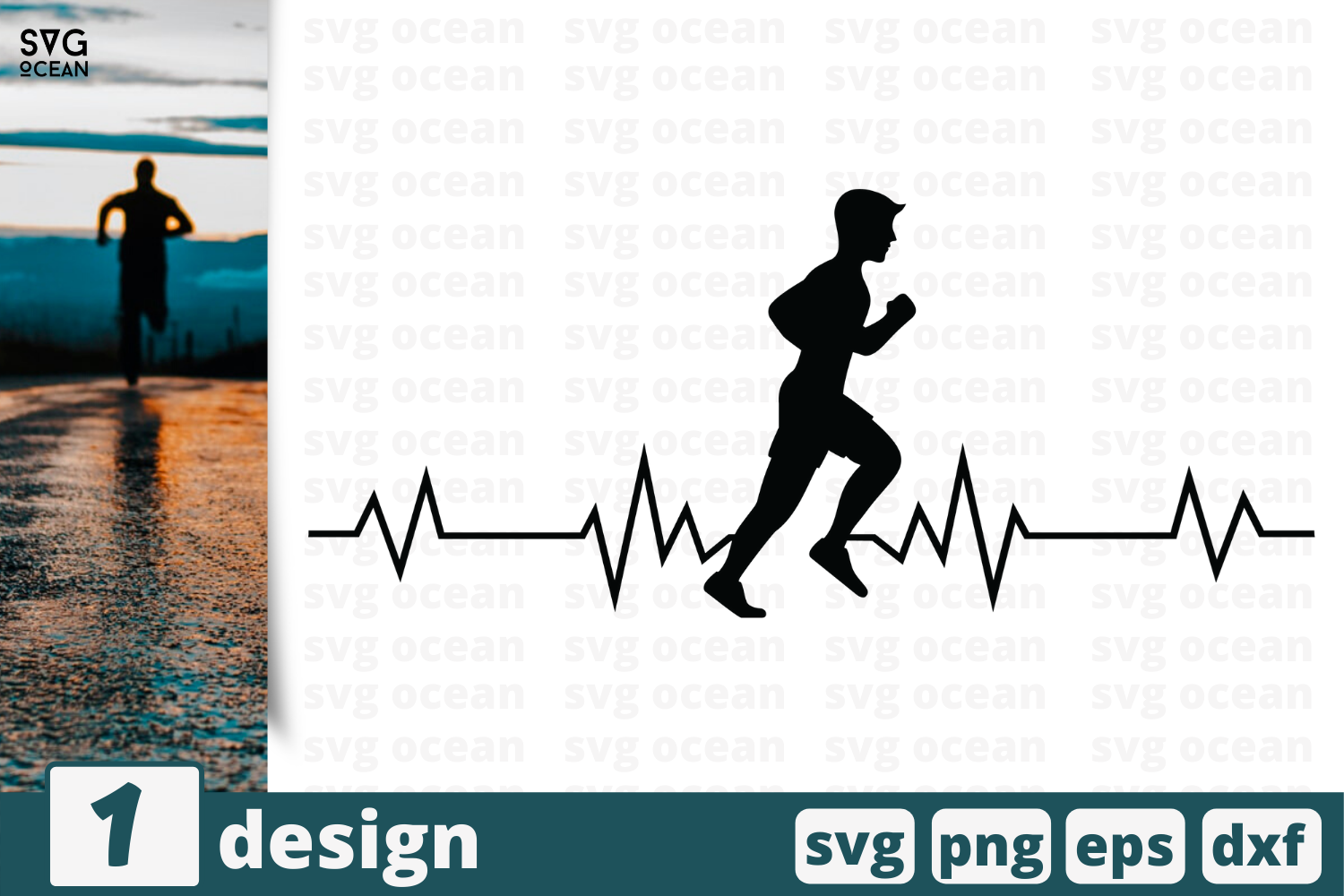 Download Free Heart Beat Runner Graphic By Svgocean Creative Fabrica for Cricut Explore, Silhouette and other cutting machines.