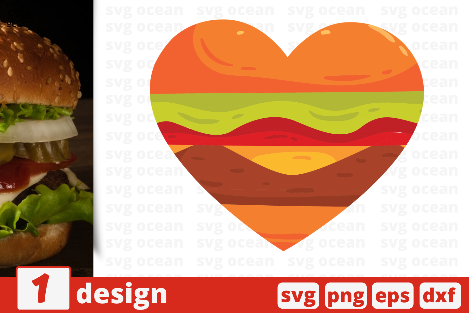 Download Free Heart Hamburger Graphic By Svgocean Creative Fabrica for Cricut Explore, Silhouette and other cutting machines.