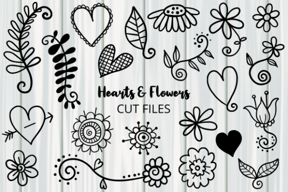 Print on Demand: Hearts and Flowers Doodle Graphic Illustrations By Prawny