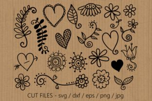 Print on Demand: Hearts and Flowers Doodle Graphic Crafts By Prawny 2