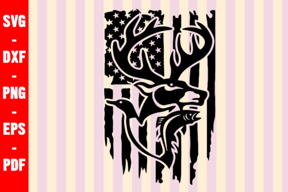 Download Free Hunting Flag Deer Duck And Fish Graphic By Creativeshohor for Cricut Explore, Silhouette and other cutting machines.