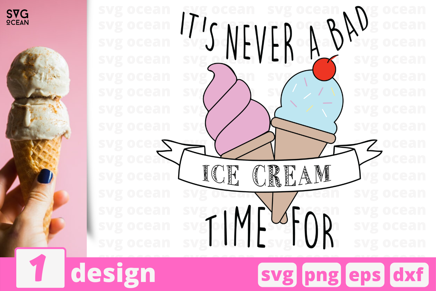 Download Free It S Never A Bad Time For Ice Cream Graphic By Svgocean for Cricut Explore, Silhouette and other cutting machines.