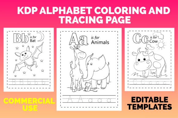 Print on Demand: KDP Alphabet Coloring and Tracing Page Graphic KDP Interiors By MK DESIGNS - Image 1