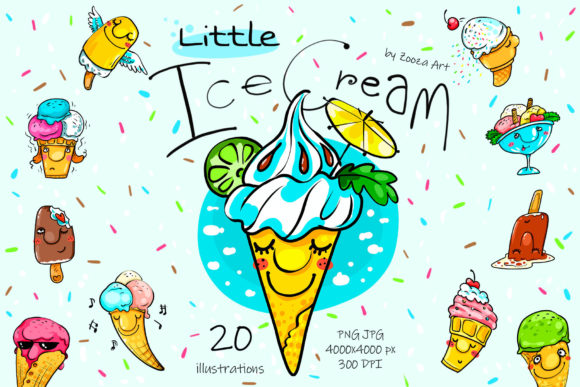 Print on Demand: Little Ice Cream - Illustrations Graphic Illustrations By Zooza Art