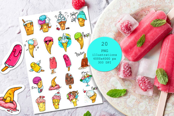 Download Free Little Ice Cream Illustrations Graphic By Zooza Art Creative for Cricut Explore, Silhouette and other cutting machines.