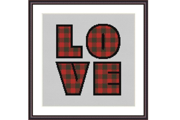 Love Lumberjack Plaid Geometric Stitch Graphic Cross Stitch Patterns By e6702 - Image 1