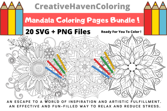Print on Demand: Mandala Coloring Pages Bundle  By creativehavencoloring
