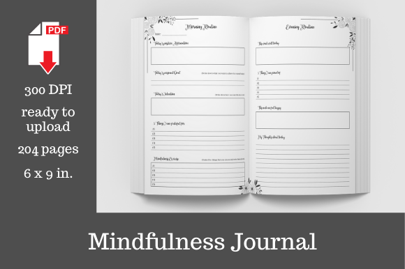 Print on Demand: Mindfulness Journal • 204 Pages  Grafik KPD Innenseiten von KDP Template Designs
