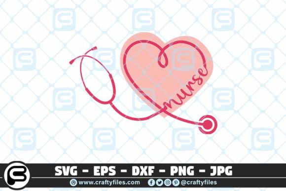Download Free Nurse Stechoscope Love Nurse Heart Graphic By Crafty Files for Cricut Explore, Silhouette and other cutting machines.