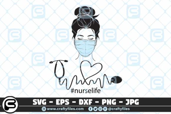 Nurse Head with Medical Mask  Graphic Crafts By Crafty Files