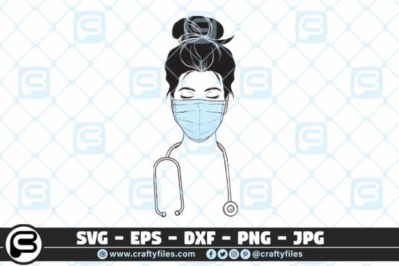 Nurse with Medical Mask   Graphic Crafts By Crafty Files