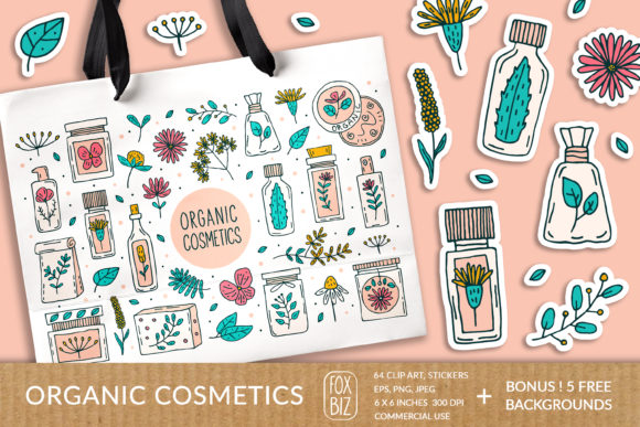 Download Free Organic Cosmetics Vector Prints Stickers Graphic By Foxbiz for Cricut Explore, Silhouette and other cutting machines.