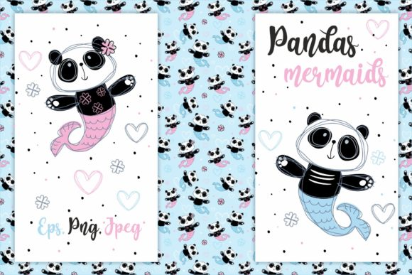 Download Free Pandas Mermaids Graphic By Grigaola Creative Fabrica for Cricut Explore, Silhouette and other cutting machines.