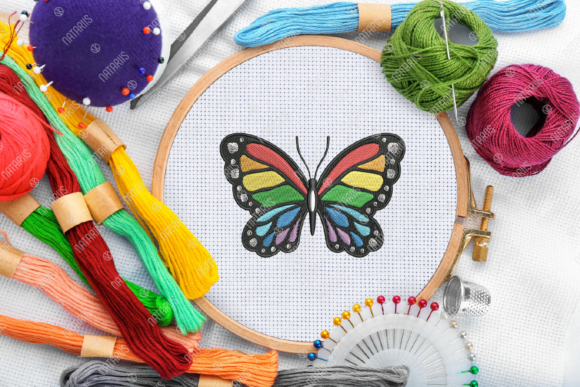 Rainbow Butterfly Bugs & Insects Embroidery Design By Natariis Studio - Image 1