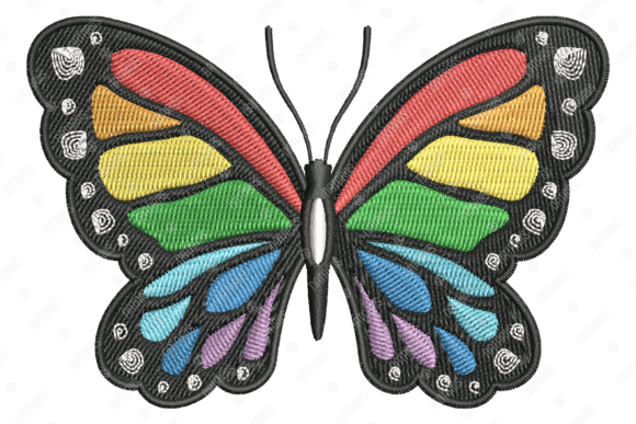 Rainbow Butterfly Bugs & Insects Embroidery Design By Natariis Studio - Image 3
