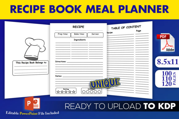 Print on Demand: Recipe Book Meal Planner | KDP Interior Graphic KDP Interiors By Beast Designer