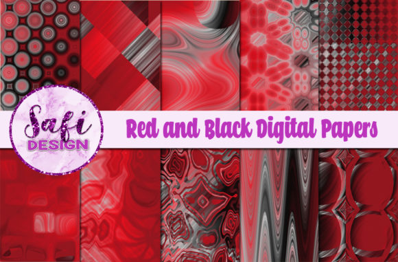 Print on Demand: Red and Black Digital Papers Graphic Backgrounds By Safi Designs