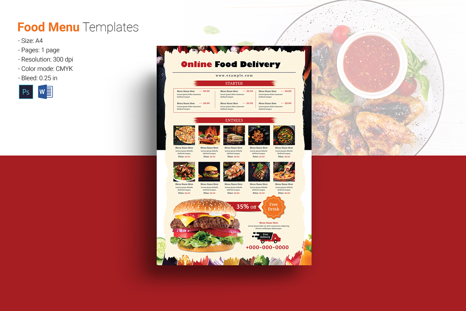 Download Free Restaurant Food Delivery Flyer Graphic By Sistecbd Creative for Cricut Explore, Silhouette and other cutting machines.