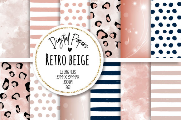 Print on Demand: Retro Beige Digital Paper Set Grafik Hintegründe von loyaarts