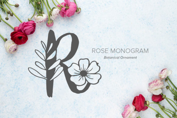 Print on Demand: Rose Monogram Decorative Font By Monogram Lovers
