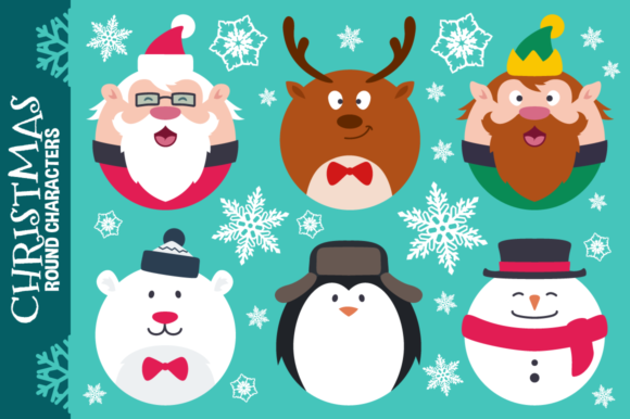 Download Free Round Flat Christmas Characters Graphic By Pixaroma Creative SVG Cut Files