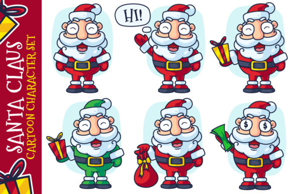 Download Free Santa Claus Cartoon Character Set Graphic By Pixaroma Creative for Cricut Explore, Silhouette and other cutting machines.