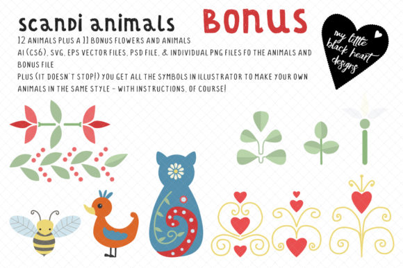Scandi Animals 2 Graphic Illustrations By My Little Black Heart