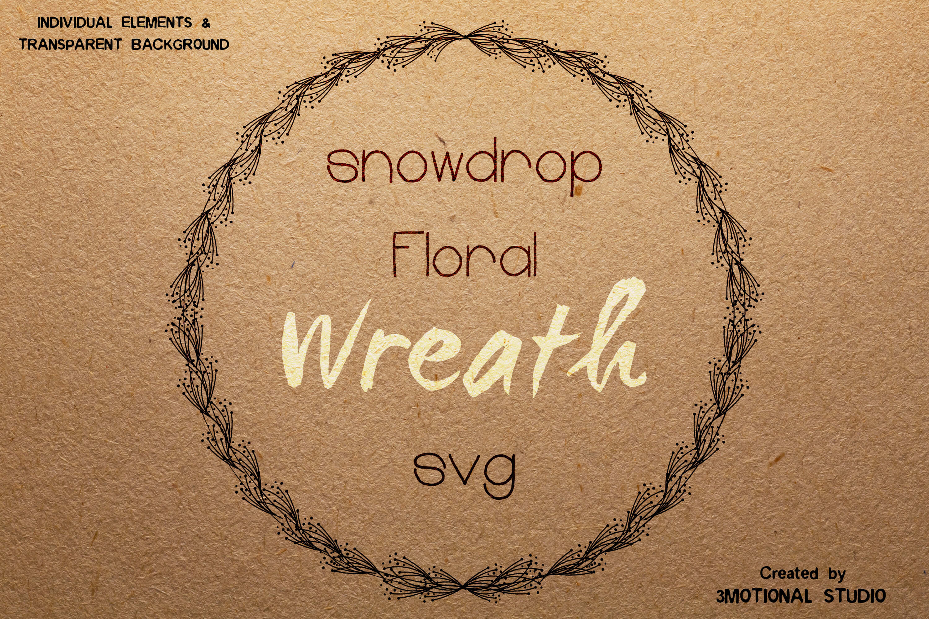 Download Free Snowdrop Floral Wreath Graphic By 3motional Creative Fabrica for Cricut Explore, Silhouette and other cutting machines.