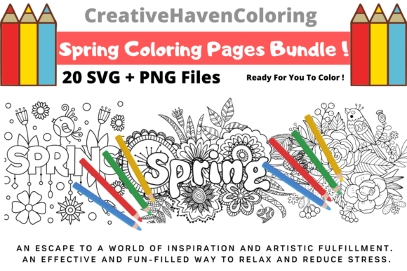 Print on Demand: Spring Coloring Pages Bundle  By creativehavencoloring