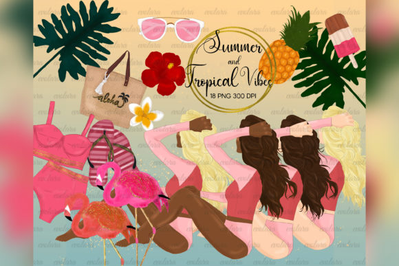 Summer Clipart Beach Tropical Vacation Graphic Illustrations By evolara