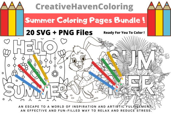 Print on Demand: Summer Coloring Pages Bundle  By creativehavencoloring
